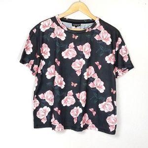 Topshop Floral Tee Shirt Oversized Black Pink 12
